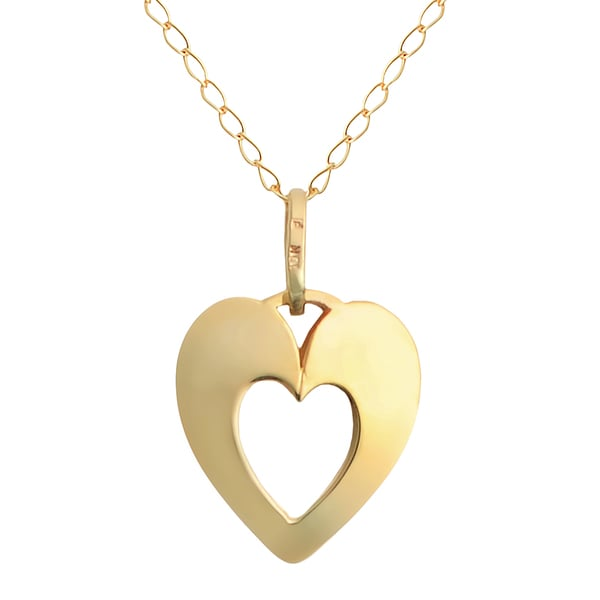 Fremada 10k Yellow Gold Dainty Cut-out Heart 18-inch Necklace