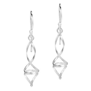 Chic Modern Double Twist .925 Silver Dangle Earrings (Thailand)