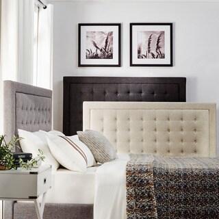 INSPIRE Q Bellevista Dark Grey Linen Button Tufted Low Profile Bed