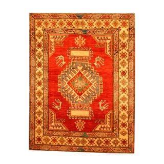 Herat Oriental Afghan Hand-knotted Tribal Kazak Rust/ Beige Wool Rug (3'7 x 4'10)