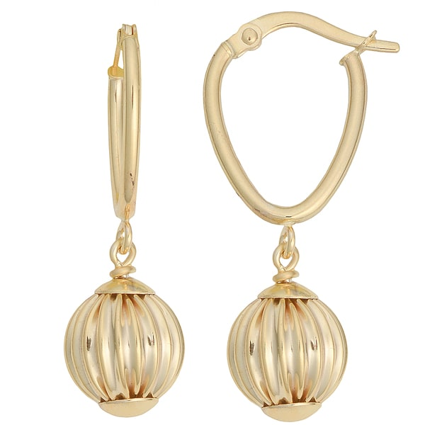 Fremada 10k Yellow Gold Leverback Texture Ball Drop Earrings 13865499