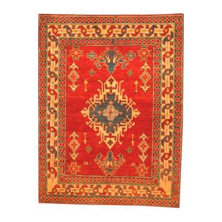 Herat Oriental Afghan Hand-knotted Tribal Kazak Red/ Beige Wool Rug (4'1 x 5'4)