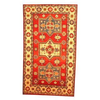 Herat Oriental Afghan Hand-knotted Tribal Kazak Red/ Beige Wool Rug (3'11 x 6'9)