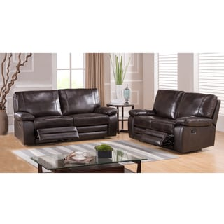 London Dark Brown Top Grain Leather Reclining Sofa and Loveseat