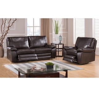 London Dark Brown Top Grain Leather Reclining Sofa and Glider/ Recliner Chair