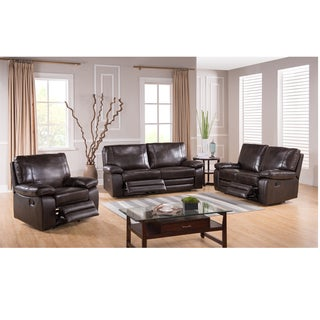 London Dark Brown Leather Reclining Sofa, Loveseat and Recliner Chair