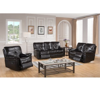 Paris Dark Brown Leather Reclining Sofa, Loveseat and Recliner Chair