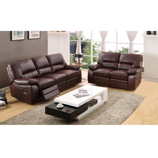 Liam Brown Top Grain Leather Reclining Sofa and Loveseat