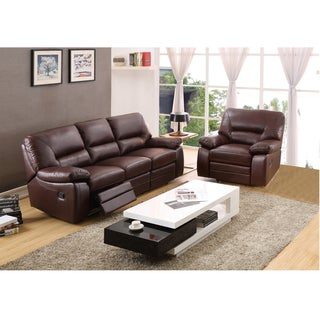 Liam Brown Top Grain Leather Reclining Sofa and Glider/ Recliner Chair