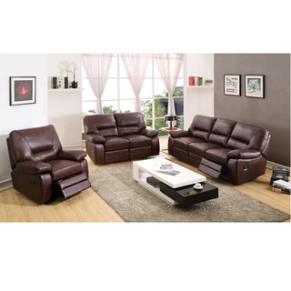 Liam Brown Leather Reclining Sofa, Loveseat and Recliner Chair