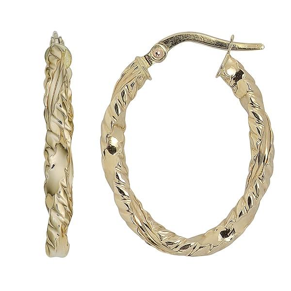 Fremada 10k Yellow Gold Texture Finish Oval Hoop Earrings