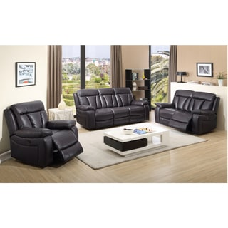 Lotus Dark Brown Leather Reclining Sofa, Loveseat and Recliner Chair