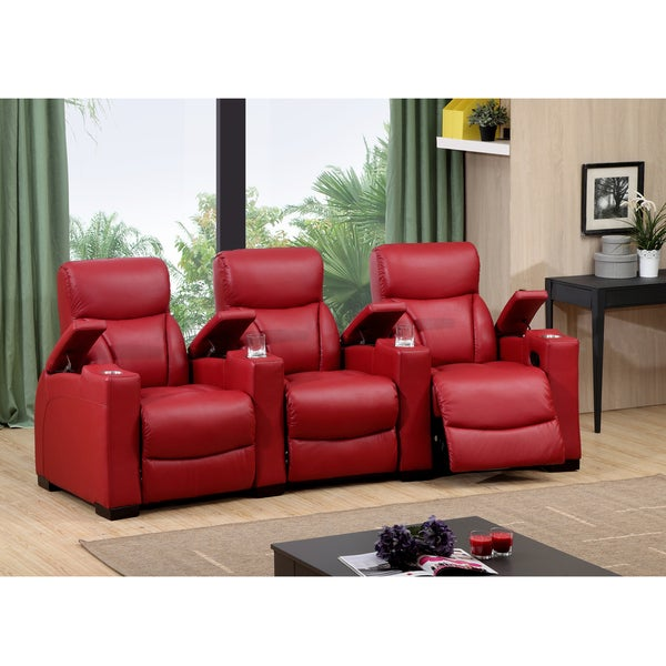Bristol Three Seat Red Top Grain Leather Recliner Home Theater Seating Set 13865560