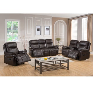 Avenue Dark Brown Leather Reclining Sofa, Loveseat and Recliner Chair