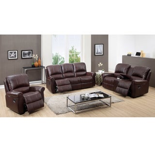 Denton Brown Leather Reclining Sofa, Loveseat and Recliner Chair