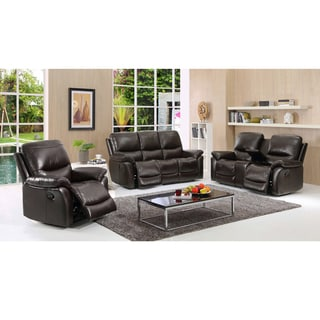 Aston Dark Brown Leather Reclining Sofa, Loveseat and Recliner Chair