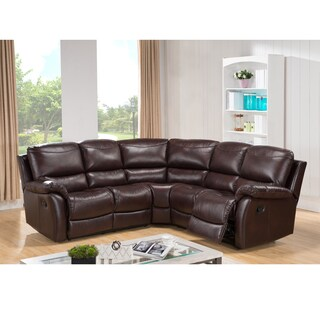Hanover Brown Top Grain Leather Reclining Sectional Sofa