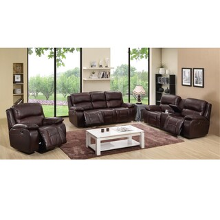 Cosmo Brown Leather Reclining Sofa, Loveseat and Recliner Chair