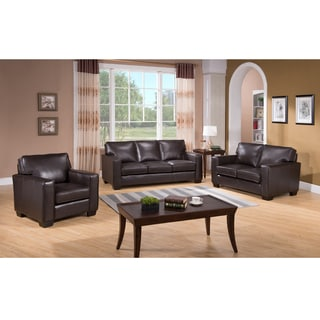 Ryder Brown Leather Sofa, Leather Loveseat and Leather Chair