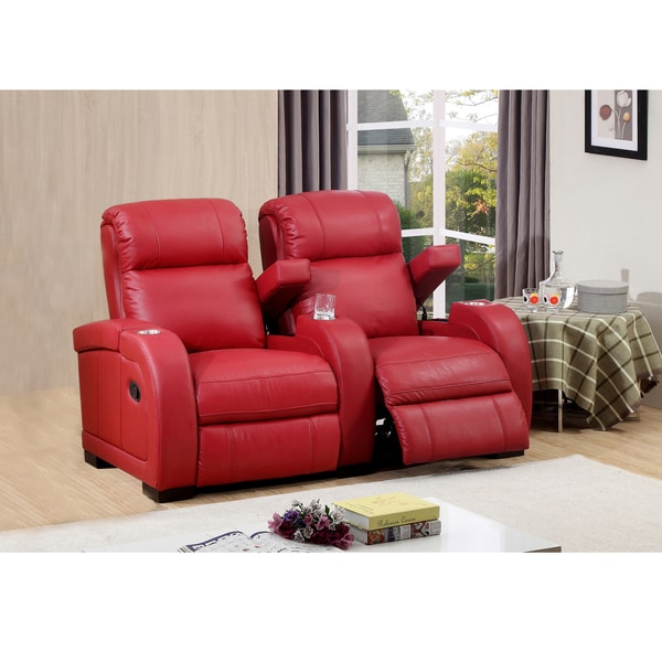 Hugo two seat red top grain leather recliner home theater - Red leather living room furniture set ...