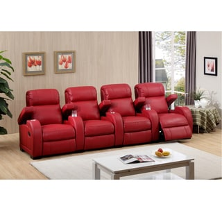 Hugo Four Seat Red Leather Recliner Home Theater Seating Set