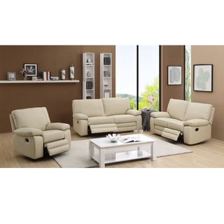 Avery Beige Leather Reclining Sofa, Loveseat and Recliner Chair