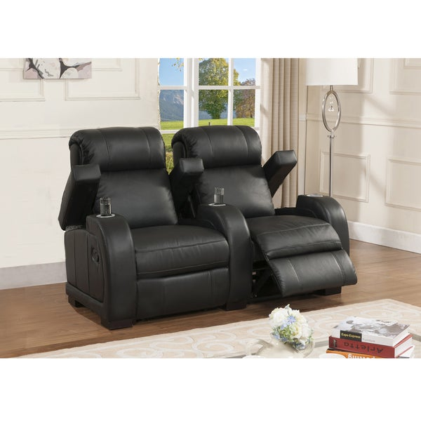 Cooper Two Seat Black Top Grain Leather Recliner Home Theater Seating Set