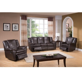 Dylan Brown Leather Reclining Sofa and Two Recliner Chairs
