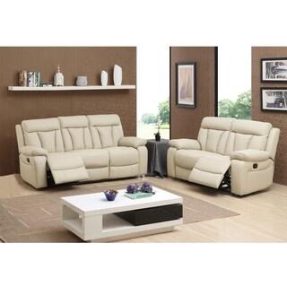 Skylar Beige Top Grain Leather Reclining Sofa and Loveseat