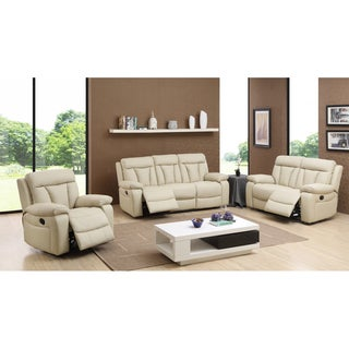 Skylar Beige Leather Reclining Sofa, Loveseat and Recliner Chair