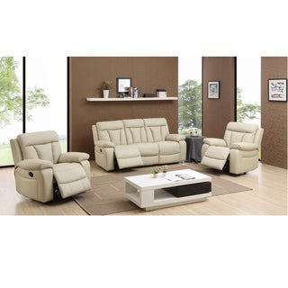 Skylar Beige Leather Reclining Sofa and Two Recliner Chairs