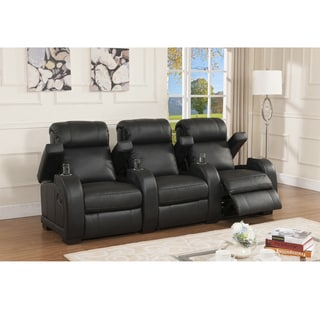 Cooper Three Seat Black Top Grain Leather Recliner Home Theater Seating Set