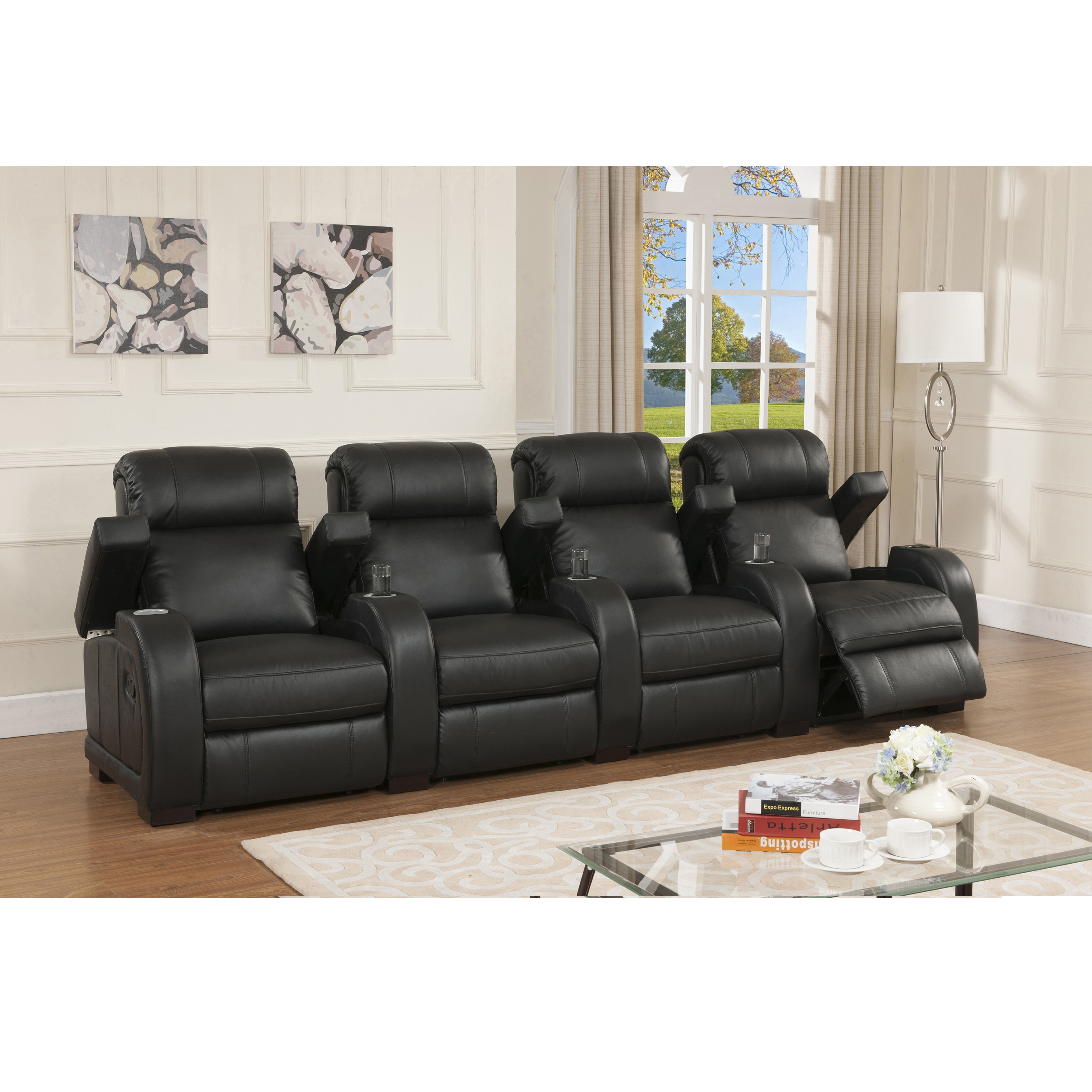 Overstock.com Cooper Four Seat Black Top Grain Leather Recliner Home Theater Seating Set at Sears.com