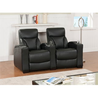 Brooklyn Two Seat Black Top Grain Leather Recliner Home Theater Seating Set