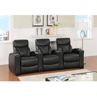 Brooklyn Three Seat Black Top Grain Leather Recliner Home Theater Seating Set