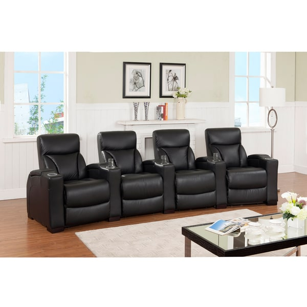 Brooklyn Four Seat Black Top Grain Leather Recliner Home Theater Seating Set