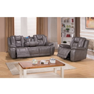 Galaxy Grey Top Grain Leather Lay Flat Reclining Sofa and Recliner Chair