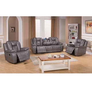 Galaxy Gray Leather Reclining Sofa and Two Recliner Chairs