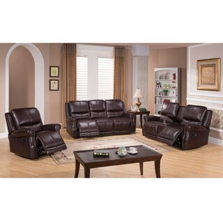 Houston Brown Leather Reclining Sofa, Loveseat and Recliner Chair