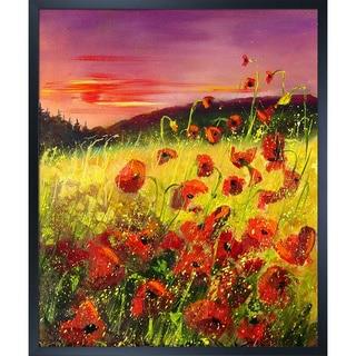 Pol Ledent 'Poppies in sunset' Framed Fine Art Print
