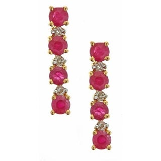 D'yach 14k Yellow Gold 1/10ct TDW White Diamond Thai Ruby Fashion Earrings (G-H, I1-I2)