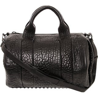 Alexander Wang 'Rocco' Black Leather and Matte Black Satchel