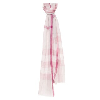 Burberry Blossom Pink Exploded Check Linen Scarf