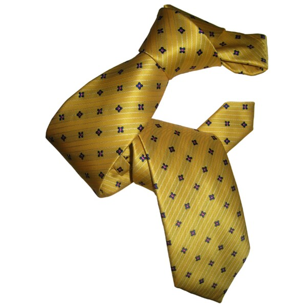 Dmitry Men's Classic Yellow Patterned Italian Silk Tie
