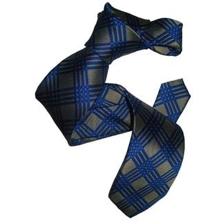 Dmitry Men's Grey and Bue Patterned Italian Silk Tie