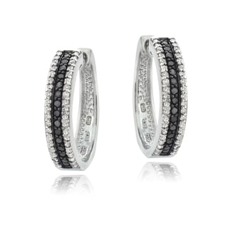 DB Designs Sterling Silver 1ct TDW Black or Blue and White Diamond Hoop Earrings (I-J, I2-I3)