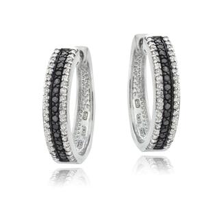DB Designs Sterling Silver 1ct TDW Black or Blue and White Diamond Hoop Earrings (I-J, I2-I3)