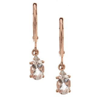 D'yach 10k Rose Gold Oval-cut Morganite and Diamond Accent Earrings