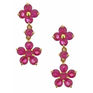 D'yach 14k Yellow Gold Round-cut Thai Ruby Earrings