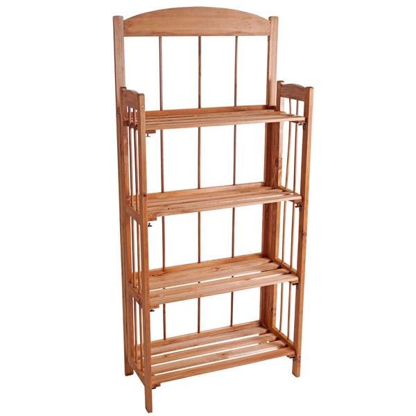 Lavish Home 4-shelf Light Wood Bookcase